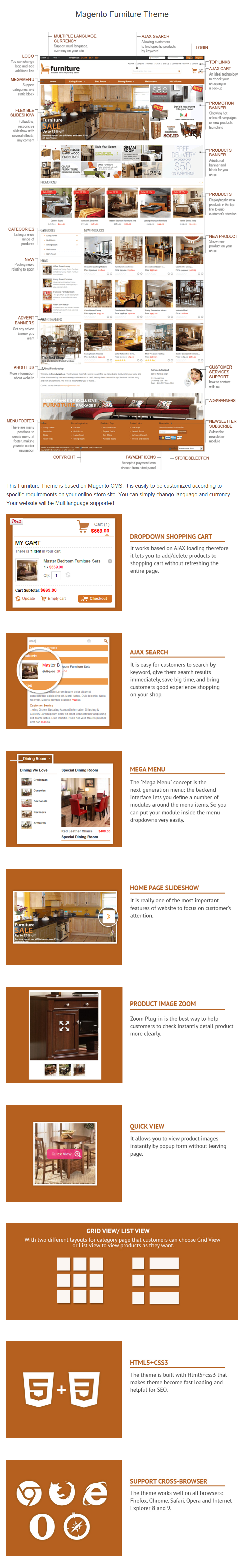 Magento Furniture Theme   Homewares Theme